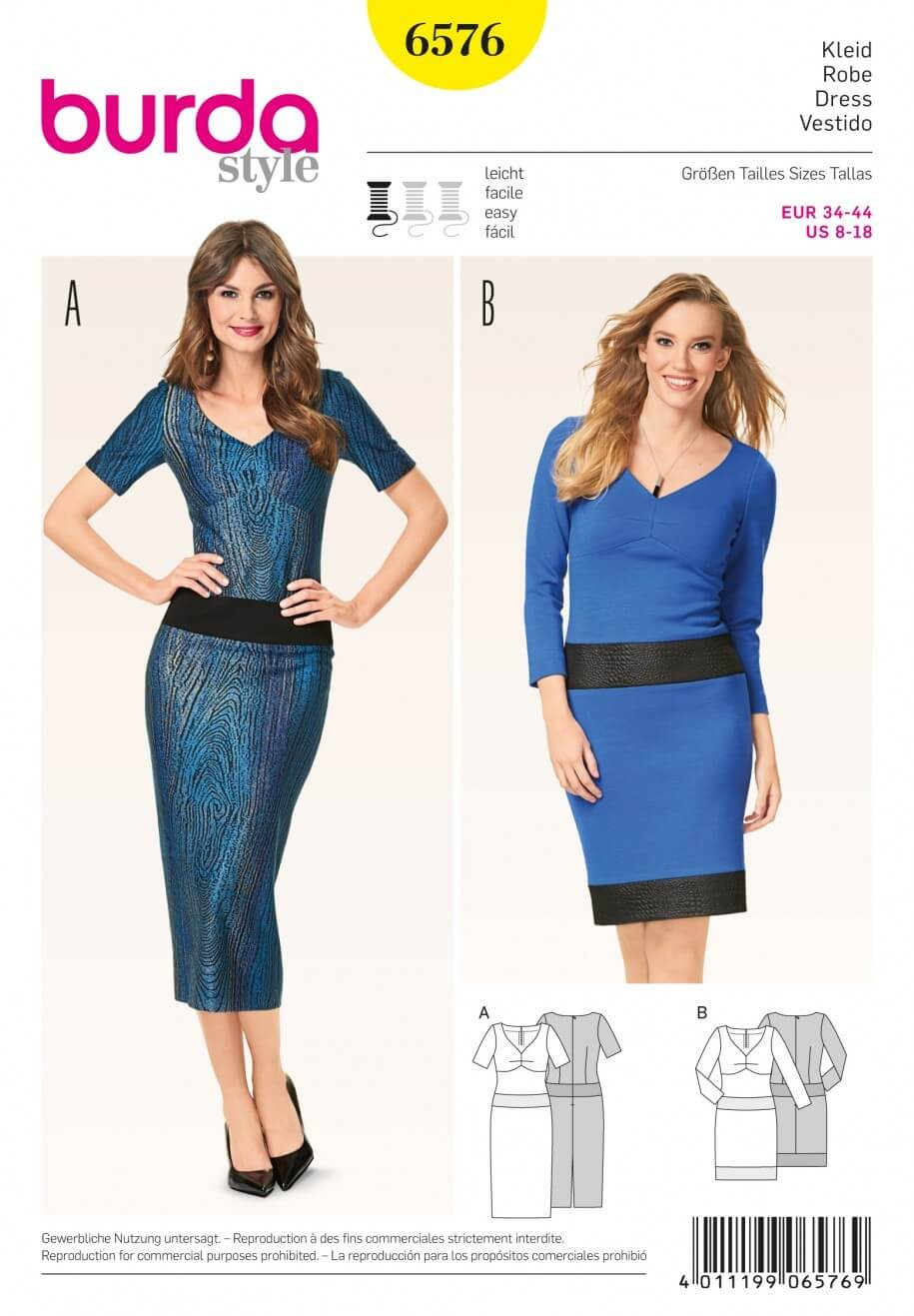 Burda Misses Faux Two Piece Style Dress Sewing Pattern 6576