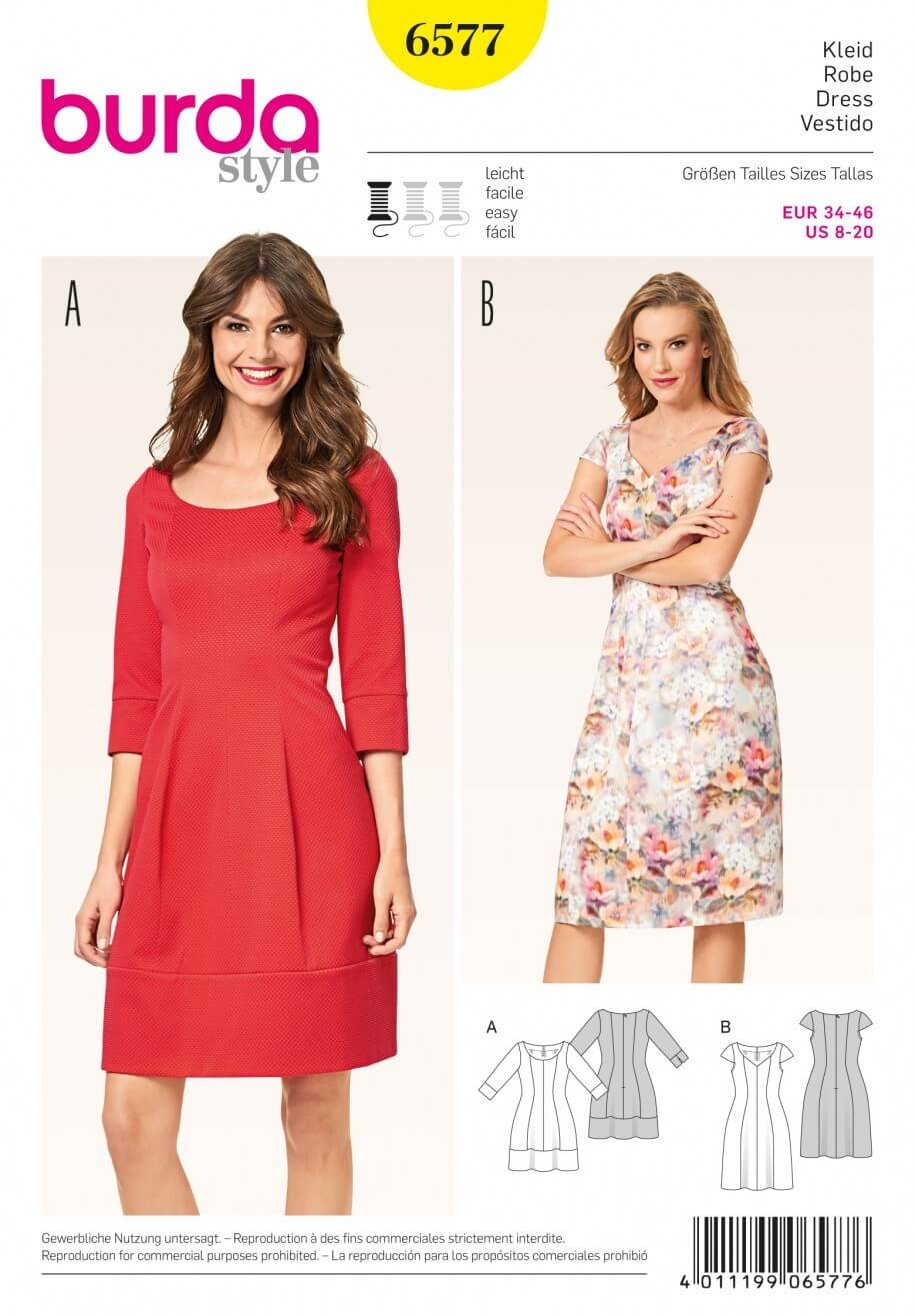 Burda Misses Panel Shaping Knee Length Dress Sewing Pattern 6577