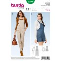 Burda Young Bibbed Trousers Overalls Dress Sewing Pattern 6599