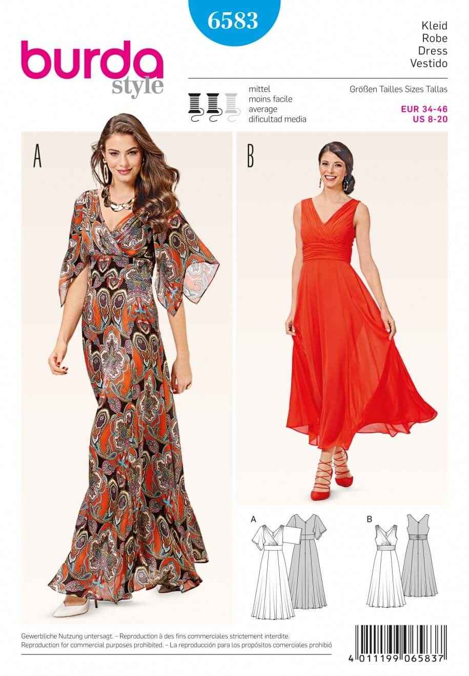 Burda Misses Summer Evening Maxi or Midi Dress Sewing Pattern 6583