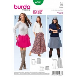 Burda Young Super Easy Mini, Midi or Maxi Skirt Sewing Pattern 6586