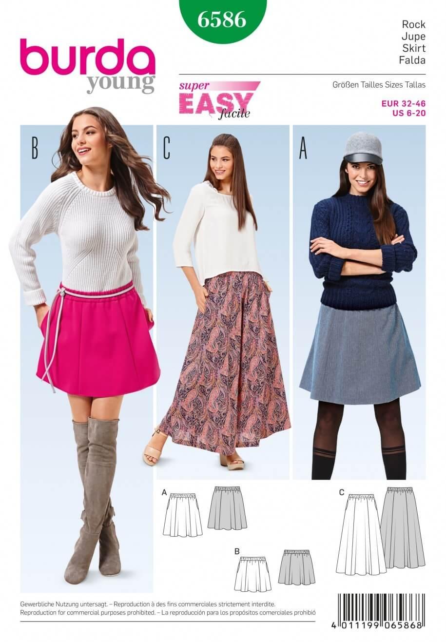 Burda Young Super Easy Mini, Midi or Maxi Skirt Sewing Pattern 6586
