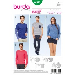 Burda Young Hooded Top T-Shirt Unisex Dress Sewing Pattern 6602