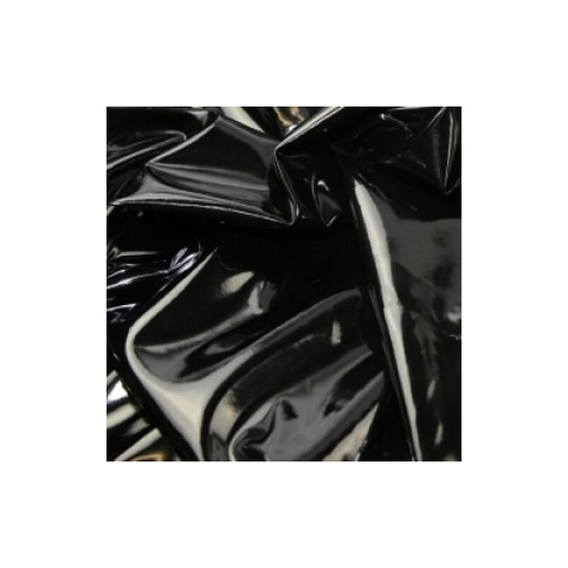 Cotton Backed Black High Gloss Leatherlook PVC Tablecloth Fabric