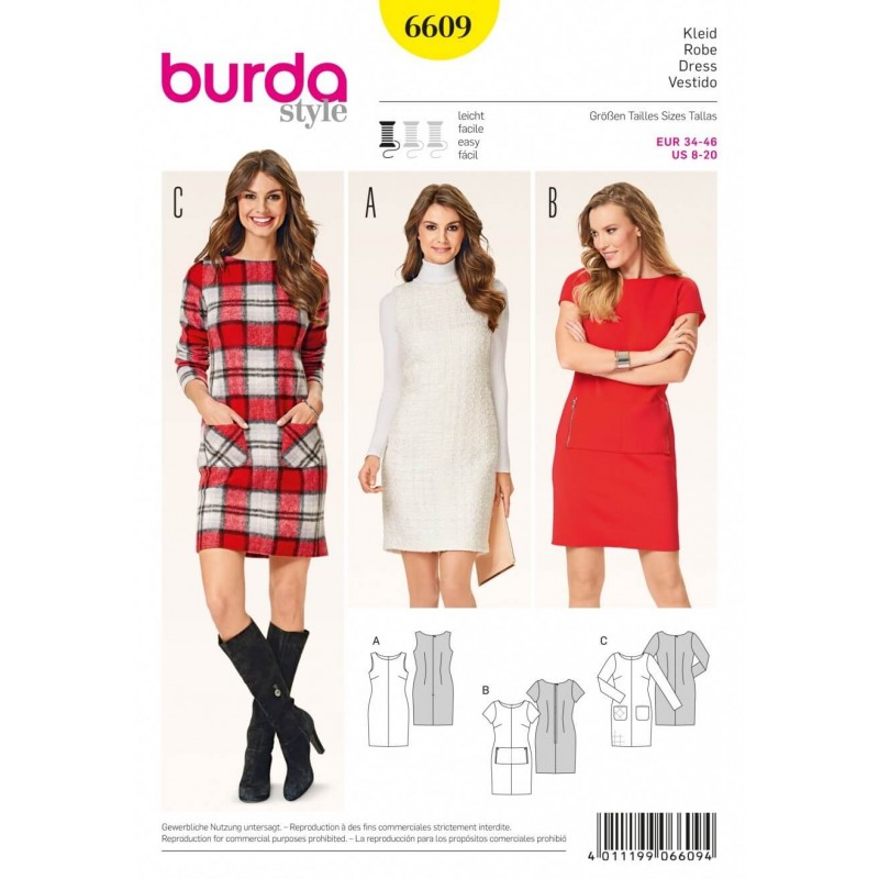Burda Style Shift Dress Shallow Neckline Evening Wear Sewing Patter...