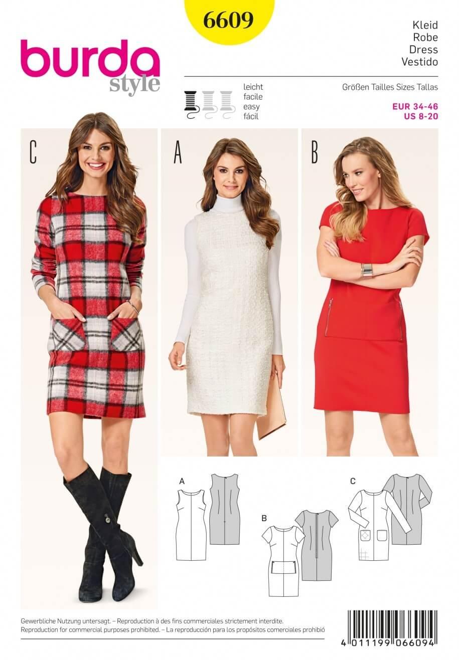 Burda Style Shift Dress Shallow Neckline Evening Wear Sewing Pattern 6609