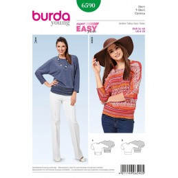 Burda Style Misses Batwing Jersey Top Jumper Super Easy Sewing Pattern 6590