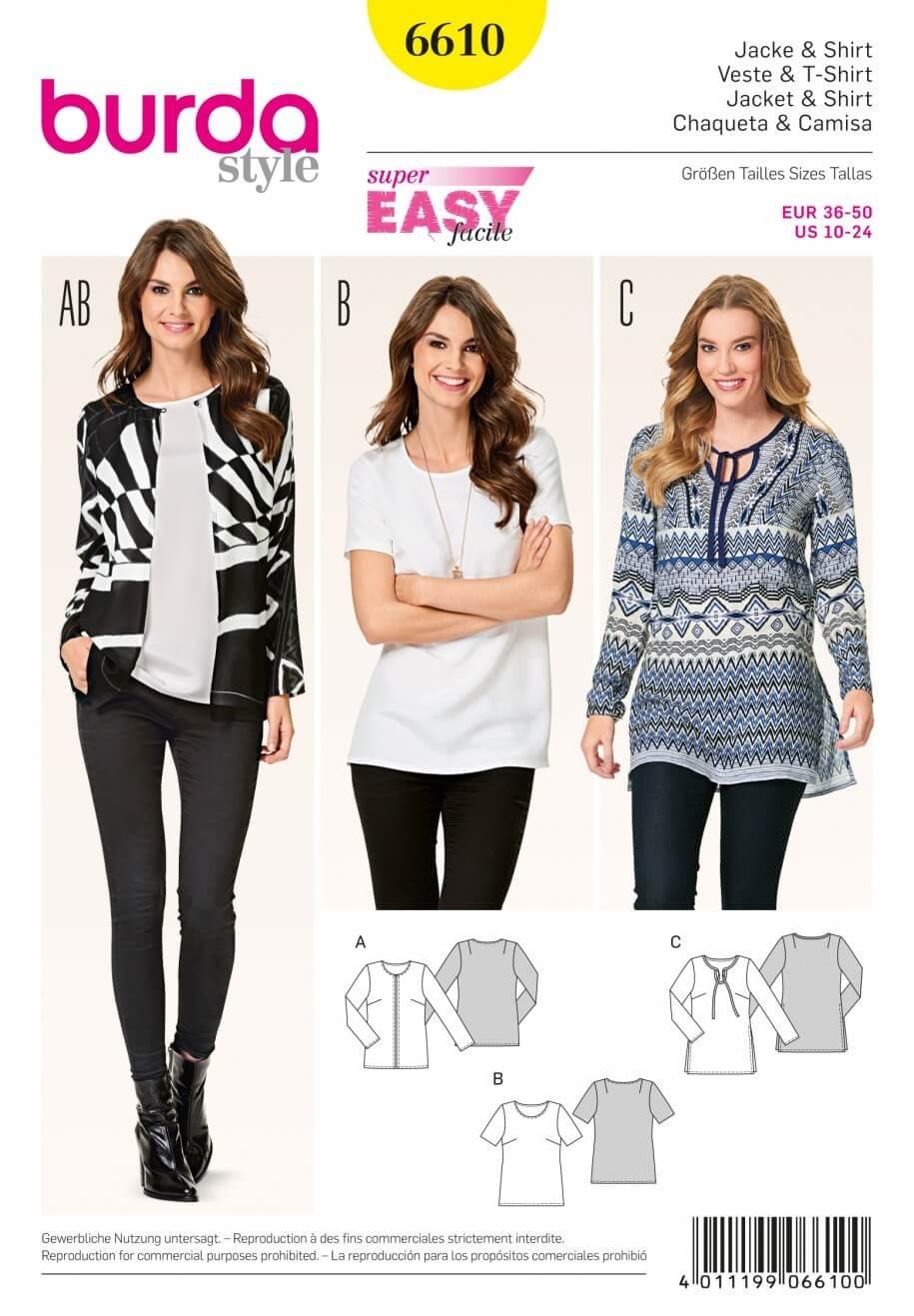 Burda Style Jacket & Shirt Top Blouse Dress Sewing Pattern 6610
