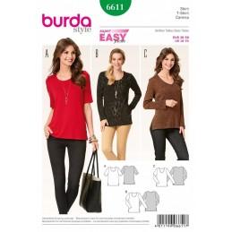 Burda Style All Seasons Sleek Top Shirt Dress Sewing Pattern 6611