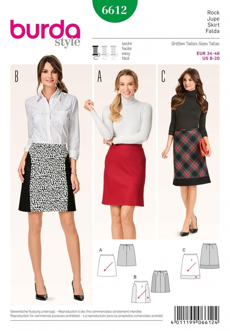 Burda Style Flared Skirt Check Plaid Dress Sewing Pattern 6612