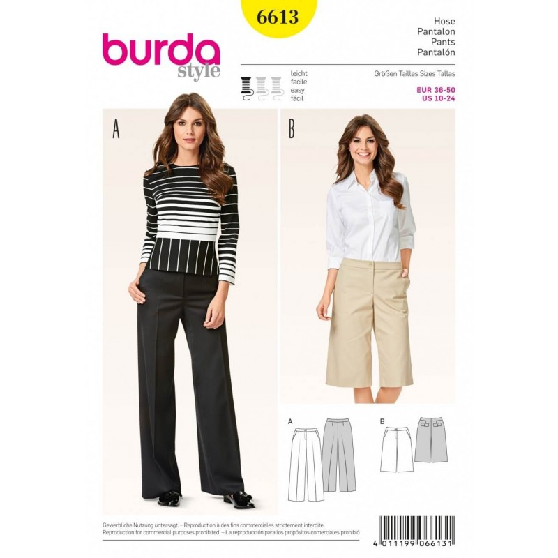 Burda Style Trousers Culottes Flared Leg Dress Sewing Pattern 6613