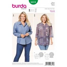 Burda Style Classic Shirt Blouse Dress Sewing Pattern 6614