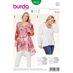 Burda Style V-Neck Lightweight Blouse Dress Sewing Pattern 6615