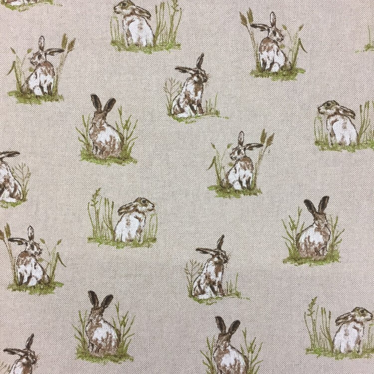 Hiding Hares In Patches Of Grass Wild Rabbits Cotton Linen Look Fabric