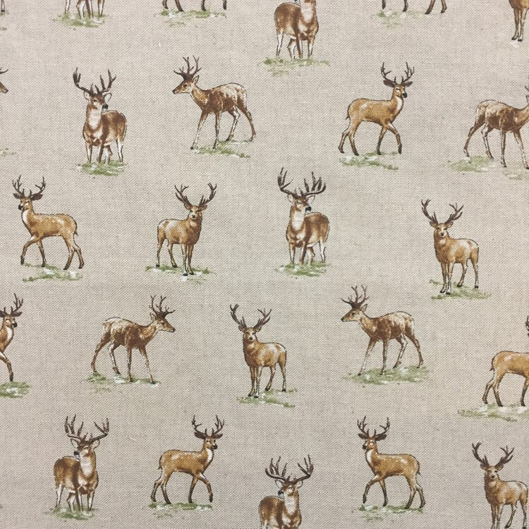 Wildlife Look Out Standing Stags Deers Cotton Linen Look Fabric