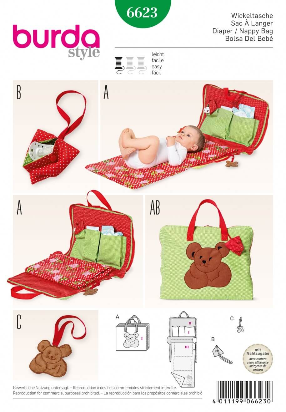 Burda Style Babies Nappy Diaper Bag Dress Sewing Pattern 6623