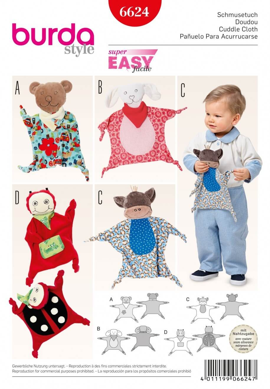 Burda Style Childrens Cuddle Cloth Toy Dress Sewing Pattern 6624