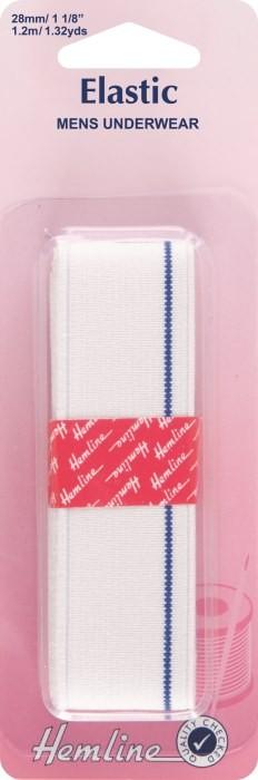 Hemline White Mens Underwear Elastic 1.2m x 28mm