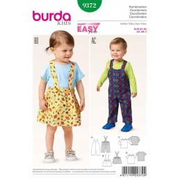 Burda Kids Coordinates Pinafore Style Skirt Dress Sewing Pattern 9372