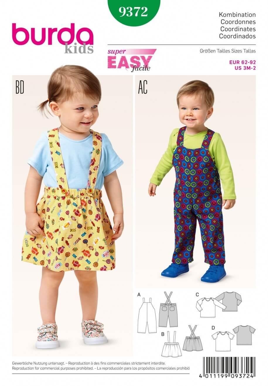 Burda Kids Coordinates Pinafore Style Skirt Dress Sewing Pattern 9372