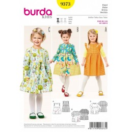 Burda Kids Girls Dress Gathered Skirt with Pockets Sewing Pattern 9373