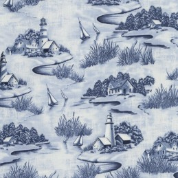 Calming Costal Nautical Sailing Boats And Houses 100% Cotton Patchwork Fabric