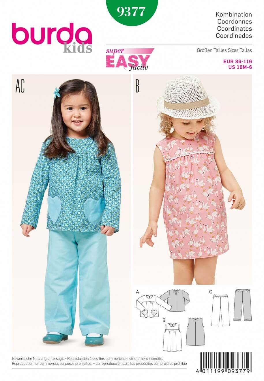 Burda Kids Coordinates Yoke Blouse Trousers  Dress Sewing Pattern 9377