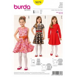 Burda Sewing Pattern 9379 Kids Bell Shaped Skirt Checked Girls Dress