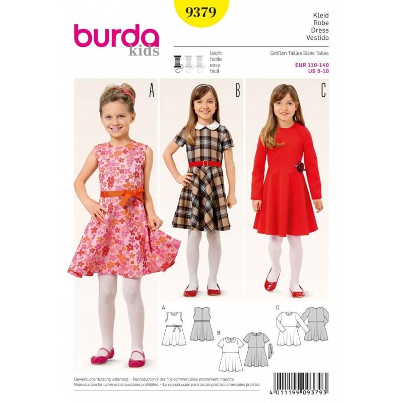 Burda Kids Bell Shaped Skirt Checked Girls Dress Sewing Pattern 9379