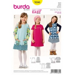 Burda Kids Modern Little Girl's Dress Sewing Pattern 9380