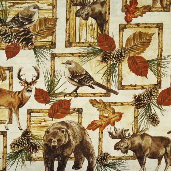 Woodland Retreat Deer Moose Birds Pinecones 100% Cotton Patchwork Fabric