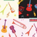 The Sound Of Music Scattered Instruments 100% Cotton Fabric (Fabric Freedom)