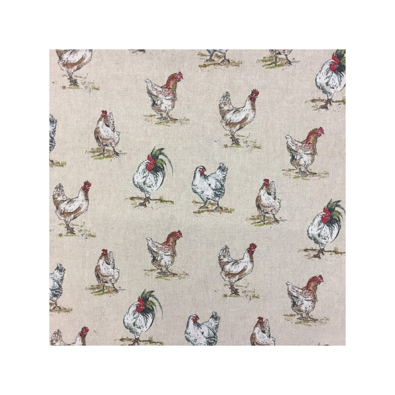 Chickens Hens Cockerel Print Cotton Linen Look Fabric