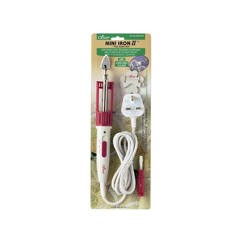 Clover Mini Iron II The Adapter Patchwork Quilting Tool + 3 Tips Ball Slim Large
