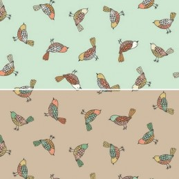 100% Cotton Fabric Makower Doodle Days Pretty Little Scattered Birds