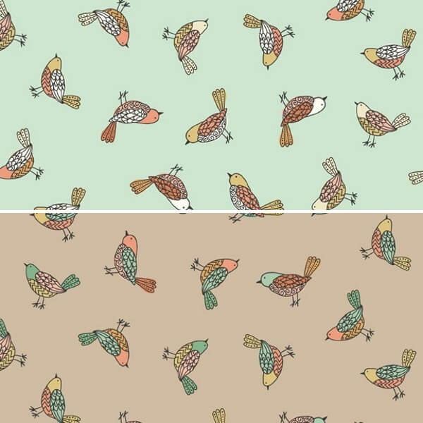 Doodle Days Pretty Little Scattered Birds 100% Cotton Fabric (Makower) SEPTEMBER