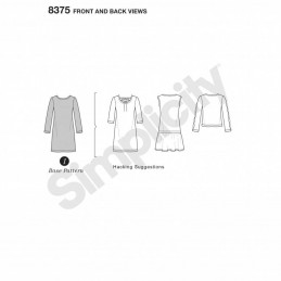 Misses' Knit Dress or Top Design Hack Collection Simplicity Sewing Pattern 8375
