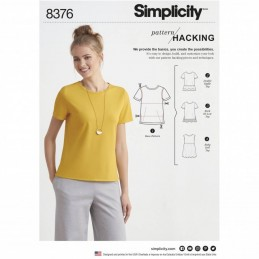 Simplicity Sewing Pattern 8376 Misses' Knit Top T-Shirt Design Hack Collection