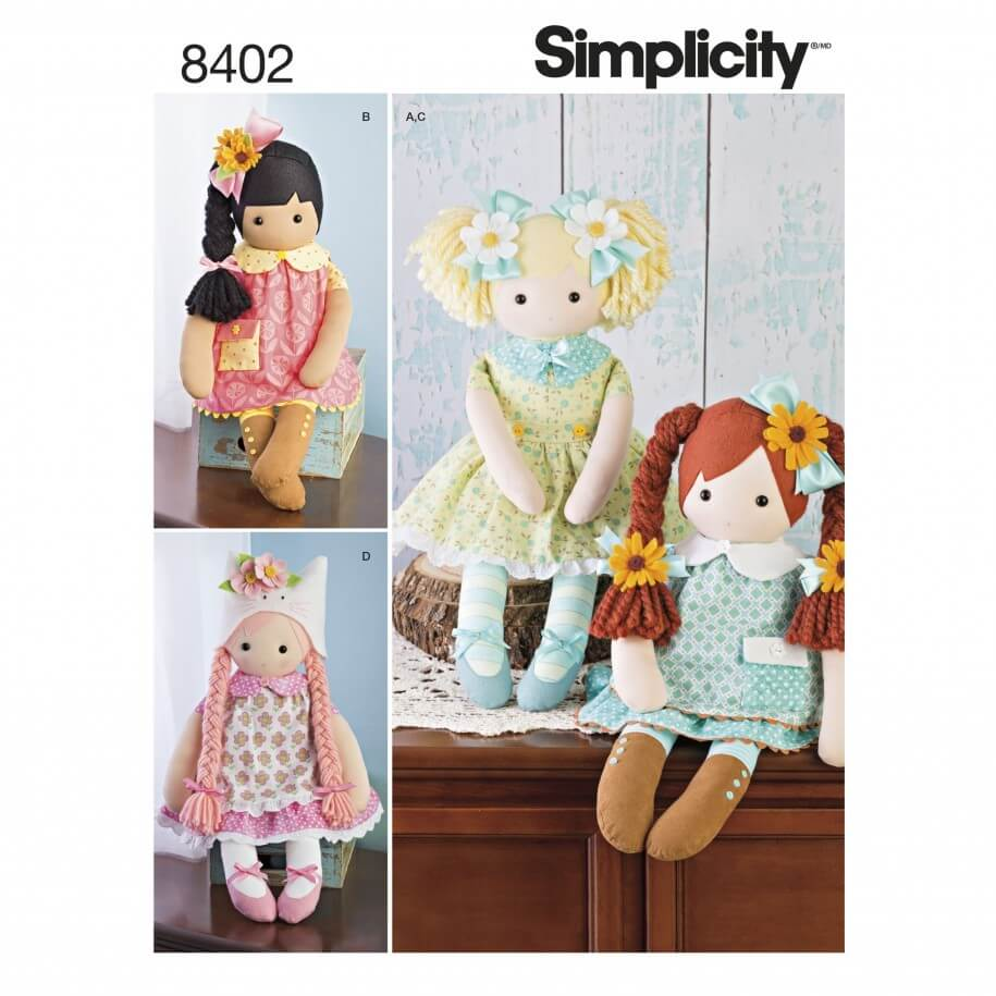 Stuffed Dolls Clothes Elaine Heigl Dress Simplicity Sewing Pattern 8402