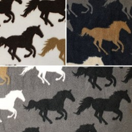 Ivory Galloping Wild Stallions Horses Polar Fleece Anti Pil Fabric