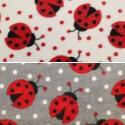 Spotty Dotty Ladybirds Insects Polka Dots Polar Fleece Anti Pil Fabric