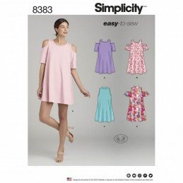 Misses' Easy to Sew Knit Trapeze Swing Dress Simplicity Sewing Pattern 8383