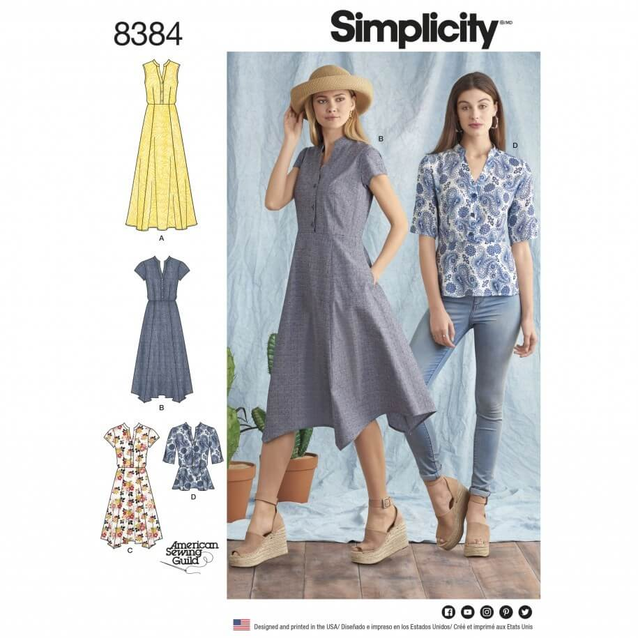Misses' Shirt Dress and Top Handkerchief Hem Simplicity Sewing Pattern 8384