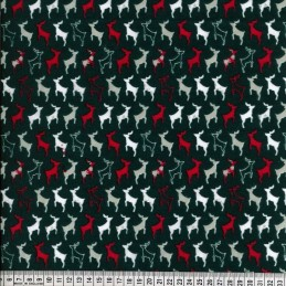Polycotton Fabric Prancing Reindeer Silhouettes in Lines Christmas Festive