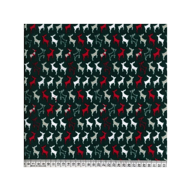 Bottle Green Polycotton Fabric Prancing Reindeer Silhouettes in Lines Christmas