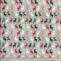 Beige Polycotton Fabric Prancing Reindeer Silhouettes in Lines Christmas
