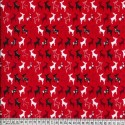 Red Polycotton Fabric Prancing Reindeer Silhouettes in Lines Christmas