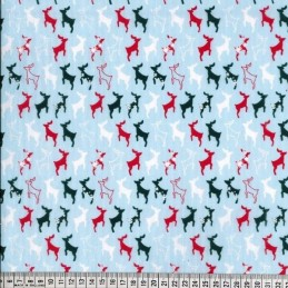 Sky Blue Polycotton Fabric Prancing Reindeer Silhouettes in Lines Christmas