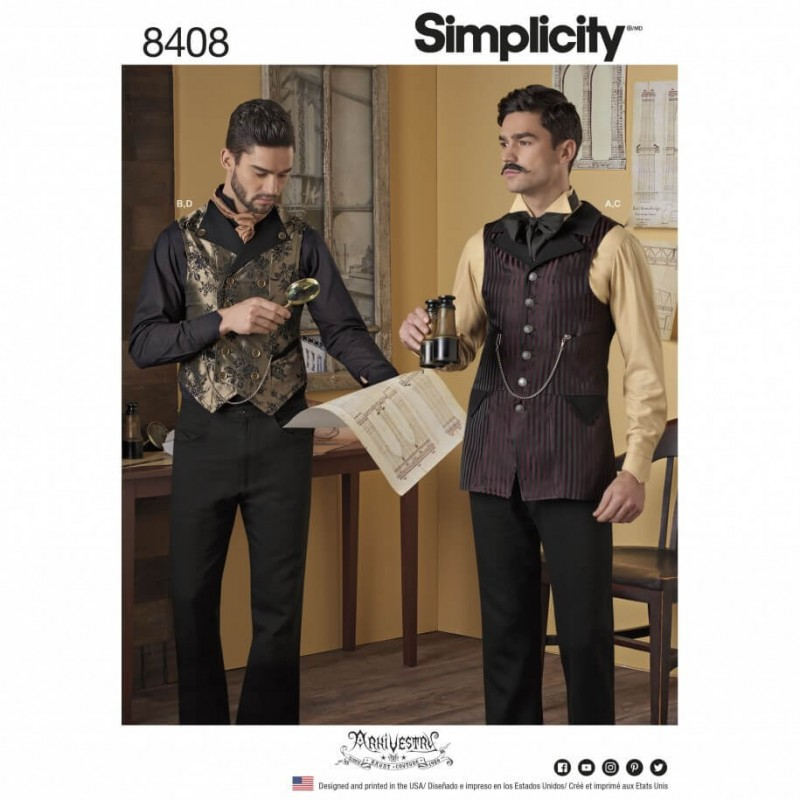 Men\'s Costume Shirt and Waistcoat Formal Simplicity Sewing Pattern ...