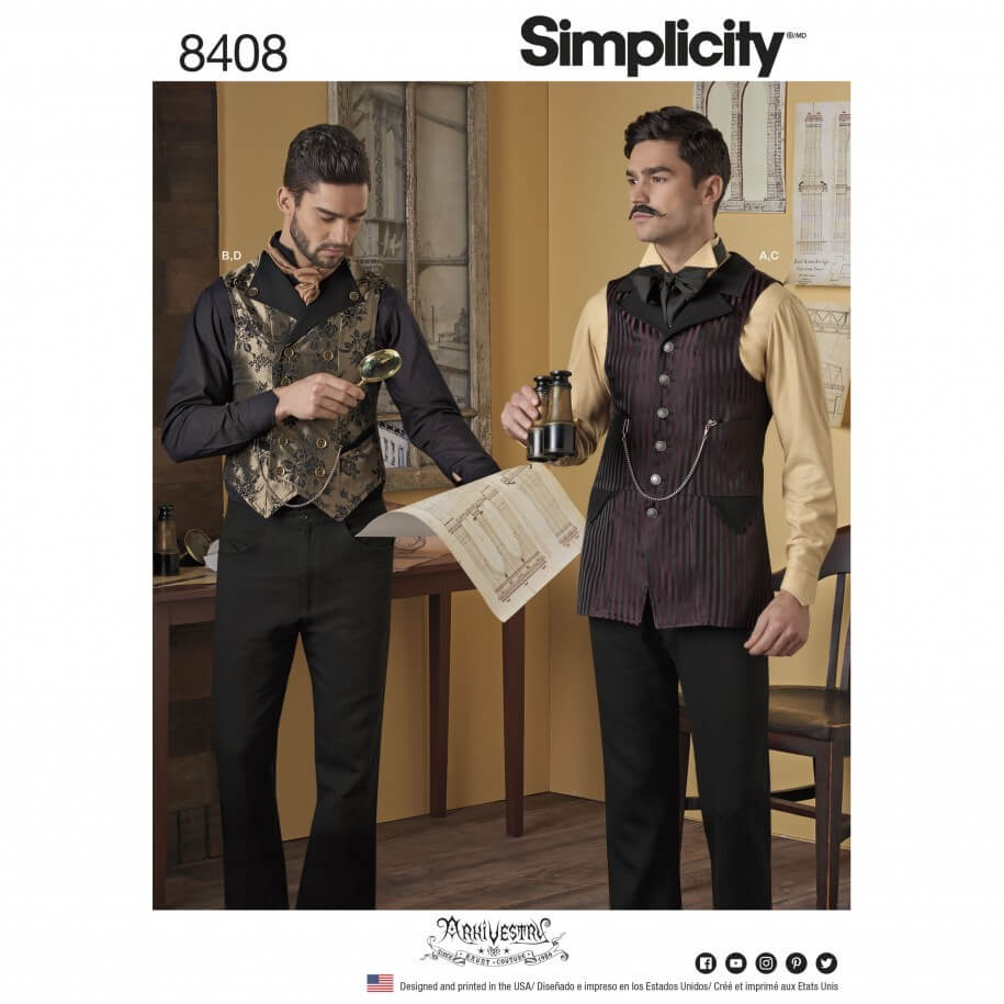 Men's Costume Shirt and Waistcoat Formal Simplicity Sewing Pattern 8408